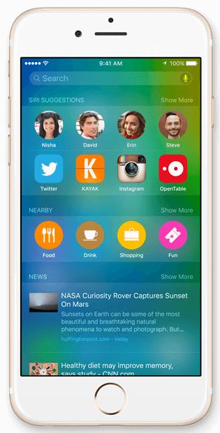 iOS 9 verbeterde zoekmachine