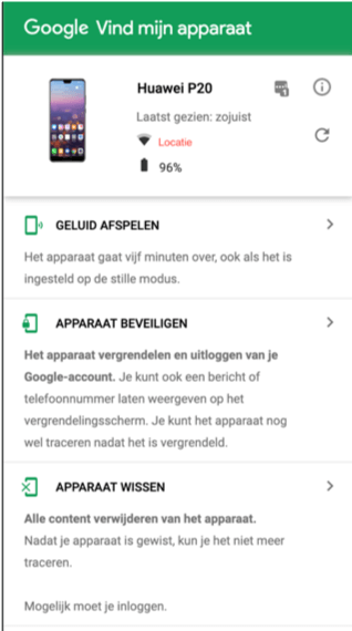 Android telefoon kwijt. Google vind mijn bedrijf.